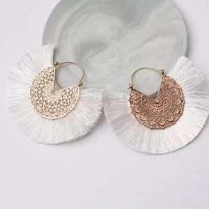 NEW Bohemian Fan Shaped Tassel Earrings Handmade